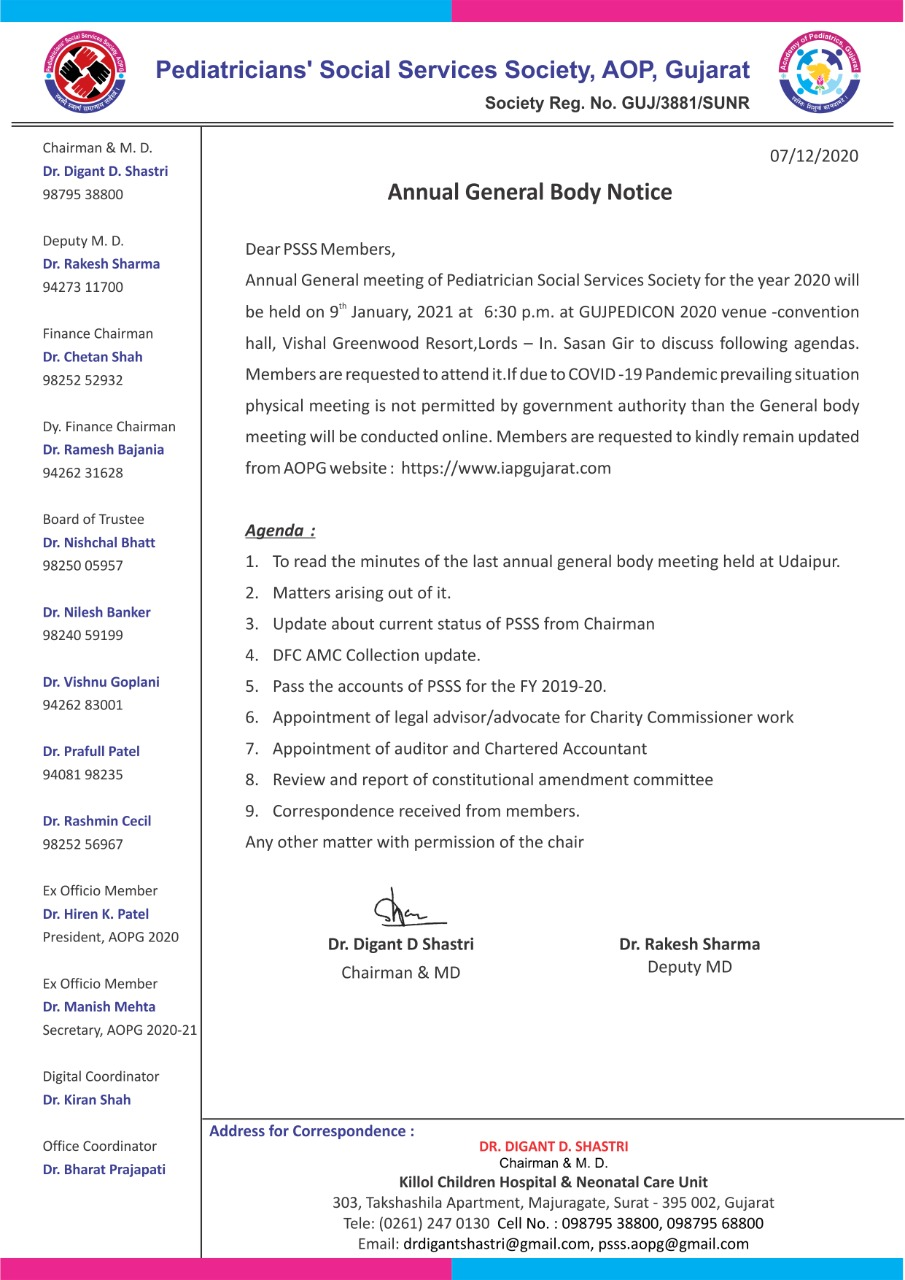 PSSS - Annual General Boday Notice